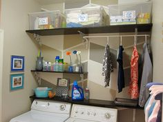 Complete Laundry Room Makeover (on a budget)- custom painting, shelves, art, organization, labels, cleaning supply storage!