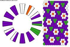 24 fils - fleurs blanches sur fond violet