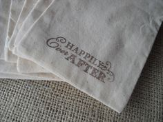 SET OF 10 Happily Ever After Muslin Favor by dazzlingexpressions, $15.50