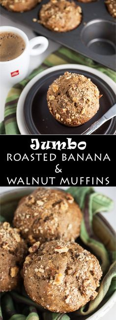 This is one of the all-time best banana muffin recipes. These Jumbo Roasted Banana Walnut Muffins are super moist and easy to make. The roasted banana really amps up the banana flavor. There is a touch of cinnamon in these banana nut muffins. Best Banana Muffin Recipe, Banana Nut Muffins, Muffin Recipes, Breakfast Recipes, Brunch Recipes, Bread Recipes, Roasted Banana, Baked Banana, New Year's Desserts