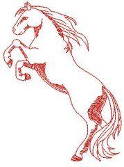rearing horse redwork