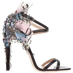 BALLIN Feather detail sandal ($468) ❤ liked on Polyvore featuring shoes, sandals, heels, scarpe, sapatos, women, leather sandals, high heel shoes, multi color sandals and black heel shoes