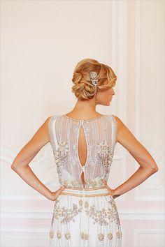 Wedding Dress and Hair: Beaded Wedding Gown. love this gown's back Beaded Wedding Gowns, 2015 Wedding Dresses, Beaded Gown, Elegant Wedding Dress, Designer Wedding Dresses, Lace Wedding, Wedding Bride, Wedding Pins, Wedding Updo