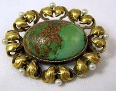 ANTIQUE GREEN TURQUOISE CABOCHON & PEARL 14K PIN