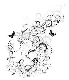 Sticker arabesque floral noir et blanc papillons
