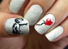 Banksy caused a stir . | The Year 2013 As Told By Nail Art