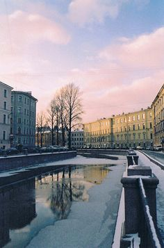 St. Petersburg, Russia: cityscape in pastel colours.