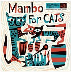"(jazz album cover, graphic design, illustration) ""Mambo for Cats"" by Jim Flora Cover Art, Lp Cover, Vinyl Cover, Lp Vinyl, Sketch Manga, Darwin Awards, Pochette Album, Album Cover Design, Photocollage"