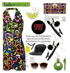 """Shoulder Show: Halter Dresses"" by slavicabojanovic ❤ liked on Polyvore featuring rag & bone, Moschino, ASPIGA, Anja, Kate Spade, Roger Vivier, Oliver Peoples and halterdresses"