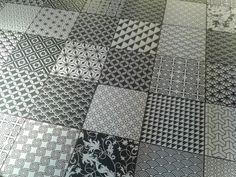 Black & white floor tiles for bathroom - seen in 'Giraffe'
