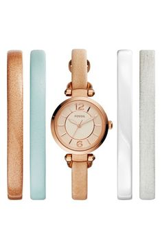 Fossil 'Georgia' Round Watch & Interchangeable Leather Strap Set, 24mm available at #Nordstrom