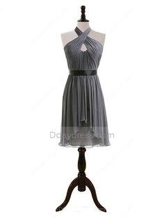 Inexpensive Knee-length Gray Chiffon SashesRibbons Halter Bridesmaid Dress Itembd0133