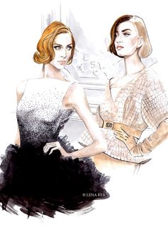 Illustration by Lena Ker: inspiration - Dior Spring 2012 Haute Couture Illustration Techniques, Illustration Mode, Fashion Illustration Sketches, Fashion Sketchbook, Fashion Design Sketches, Fashion Drawings, Watercolor Illustration, Fashion Art, New Fashion
