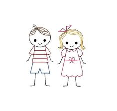 Boy and Girl Stick Figures Machine Embroidery by SewChaCha on Etsy
