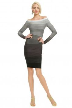 Herve Leger Grey Ombre Gradient Long Sleeves Bandage Dress