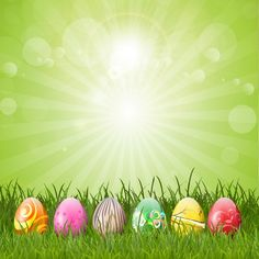 ovos de Páscoa Fundo Verde Vetor grátis