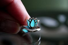LOTUS Flower Sterling Silver Ring GLOW in the DARK by Papillon9, $35.95