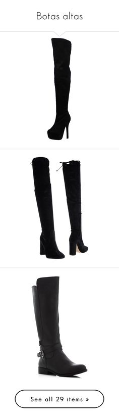 """""""Botas altas"""" by allofmeallofme ❤ liked on Polyvore featuring shoes, boots, stretch boots, wide width thigh high boots, block heel boots, wide fit boots, over the knee thigh high boots, black, black velvet boots and black over-the-knee boots"""