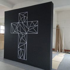 HUGE 10x10 Portable Church backdrop - Modern Cross for church service backdrop. Great for portable churches and worship events. Shows To Go Backdrops will work with you to create a custom backdrop for your church's needs! www.showbackdrops.com