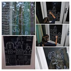 Ravelien: met krijtstift op het raam tekenen