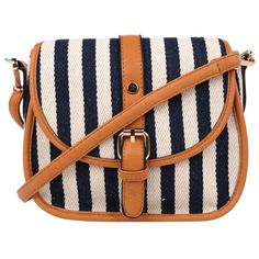 Style Tryst Bags Striped Cross Body Bag found on Polyvore