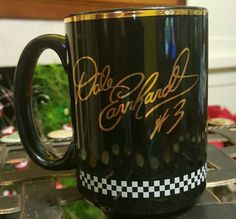 DALE EARNHARDT #3 BLACK CUP MUG GOLD TRIM Food City Racing #FoodCity