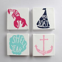 Set Of Four Lilly Inspired Canvases With Sailboat, Lobster, Clam Shell, And Anchor - Four Nautical Paintings Summer Classics Print Nautical Painting, Nautical Canvas, Craft Projects, Projects To Try, Diy And Crafts, Arts And Crafts, Nautical Bedroom, Do It Yourself Fashion, Just Dream