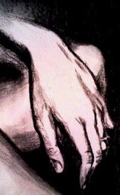 hands, charcoal drawings