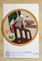 """""""Break New Ground"""" patch --- Ever since I was a cub scout I've loved patches. These durable, colorful embroidered patches will look rad on your bag, hat or shirt."""