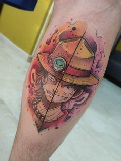 75 TATUAGENS LUFFY ( ONE PIECE ) INCRÍVEIS - Natan Bazanelli Ace Tattoo One Piece, Pieces Tattoo, One Piece Ace, One Piece Luffy, Mini Tattoos, Body Art Tattoos, Cool Tattoos, Leg Tattoos, Small Tattoos