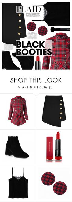 """Black Booties"" by tasnime-ben ❤ liked on Polyvore featuring Max Factor, MANGO, Anja and Givenchy"