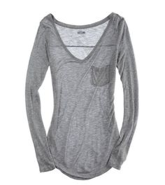 Comfy long sleeve shirts to wear with jeans Casual Outfits, Fashion Outfits, Womens Fashion, Pretty Outfits, Cute Outfits, Mode Top, Look Cool, Shirt Sleeves, Grey Long Sleeve Shirt