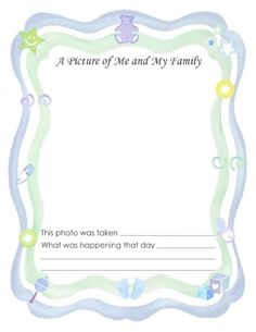 """Free Printable Baby Book Page, """"Photo of Me and My Family"""""""
