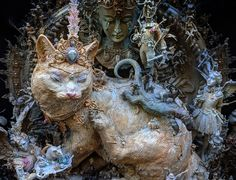 A Tyrannical Tabby Rules an Opulent Assemblage of Densely Layered Scenes by Artist Kris Kuksi   Colossal Sculpture Art, Sculptures, The Artist, Colossal Art, Find Objects, Metallic Paint, Artists Like, Oeuvre D'art, Les Oeuvres