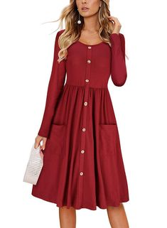 Women long sleeve dress - BOCOTUBE Women's Dresses Casual Long Sleeve V Neck Button Down Swing Midi Skater Dress with Pockets – Women long sleeve dress Plus Size Maxi Dresses, Short Sleeve Dresses, Long Sleeve, Cap Dress, Shirt Dress, Swing Dress With Pockets, Dress Pockets, Very Short Dress, Dress Long