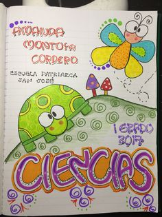 Portadas cuadernos School Notebooks, Cute Notebooks, Banner Doodle, Diy And Crafts, Crafts For Kids, Doodle Frames, Diy Back To School, Decorate Notebook, Fitness Gifts