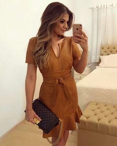 "751ce717b Ariane Cânovas on Instagram  "" Leather 😍 Vestido couro caramelo by   fortinaoficial  """