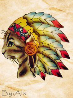 #traditional tattoo art #cat
