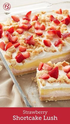 Strawberry shortcake gets a fun makeover that's perfect for sharing with a crowd. With a sugar cookie crust, cool layers of sweet strawberry cream cheese, vanilla pudding and whipped topping, plus a finishing sprinkle of fresh strawberries, it's summer in a dessert!