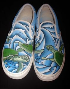 Hand Painted Vans Turtles
