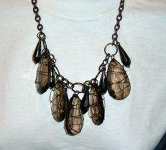 smoke lucite encased dangling tear drops necklace by bakelitecache, $48.00