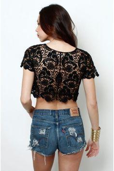 OMG Lace Crochet Crop Top