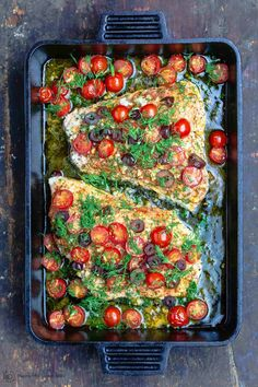 BEST baked grouper recipe in about 20 mins! Cooked Mediterranean-style w/ bold, fresh flavors like garlic, lemon, cherry tomatoes & olives! Low carb and GF Grouper Recipes, Fish Recipes, Seafood Recipes, New Recipes, Cooking Recipes, Dinner Recipes, Seafood Meals, Recipies, Baked Grouper