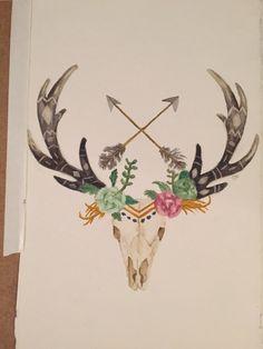 Deer Skull with Arrows and Flowers Watercolor, Deer, Skull, Arrows, Patterned Antlers by CreativebyC on Etsy