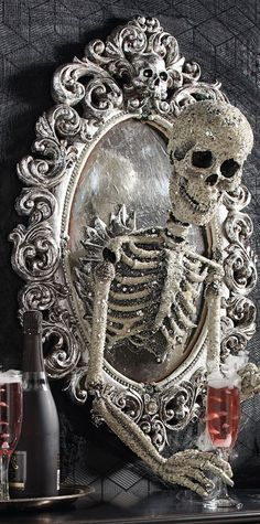 Take your Halloween decorating to a new dimension with the ominously opulent Sorceress Skull Framed Mirror, from Katherine's Collection. | Halloween Haven by Grandin Road