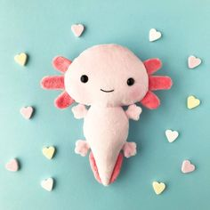 Your place to buy and sell all things handmade Softies, Plushies, Axolotl, Salamander, Diy Y Manualidades, Sewing Stuffed Animals, Sock Animals, Cute Plush, Sewing Toys