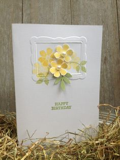 Flower and leaf stamp: Bloomin 'Marvelous Happy Birthday: Esstentials stampset Ink: So Safron + Certainly Celery  Cardstock: Whispering White + Certainly Celery  Embossingfolder: Designer Frames Folders      Leaves punch: Martha Stewart
