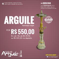 Arguile Kamanja single De R$ 600,00 / Por R$ 550,00 até 18x de R$ 39,96 ou R$ 522,50 via depósito  Compre Online: http://www.lojadoarguile.com.br/arguile-kamanja-single