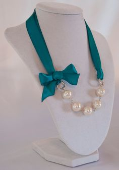 Beautiful Ribbon and Pearl Necklaces - New Shop Item Price. $20.00, via Etsy.
