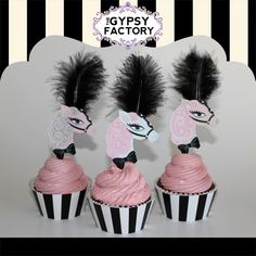 Printable Carousel Horse Cupcake Toppers  Black by thegypsyfactory, $3.95